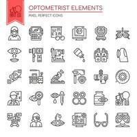 Set van dunne lijn zwart-wit optometrist pictogrammen