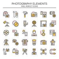 Set van duotoon fotografie iconen