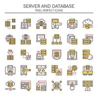 Set van Duotone dunne lijnserver en databasepictogrammen