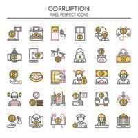 Set van duotoon corruptie iconen vector