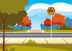 straatbeeld straat met bewegwijzering voetganger vector