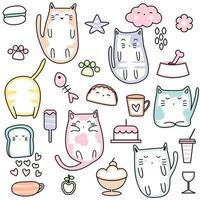Katten en snoep schattig naadloze patroon vector