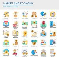 Set van platte kleurenmarkt en economie iconen vector