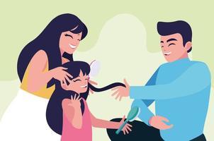 Moeder en vader met het borstelen van dochtershaar