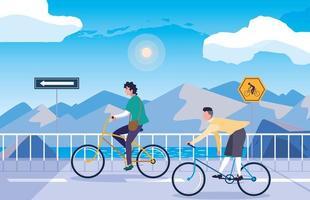 mannen in snowscape natuur met bewegwijzering voor fietser