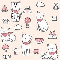 Schattig roze zomer kat naadloze patroon vector