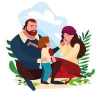 ouders rondhangen met hun zoon