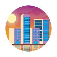 stadsgezicht gebouwen zonsondergang vector