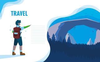 landschapsaard met bestemmingspagina voor reizigers