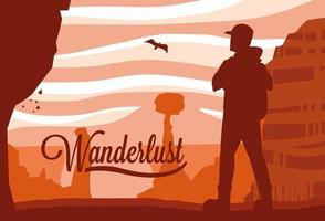 scène landschap woestijn met reiziger zwerflust