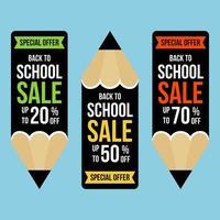Set potloodvormige banners voor terug naar schoolverkoop vector