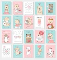 Valentijnsdag achtergrond met schattige baby dier vector