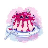 Zoete monsterjam op een roze pudding die op een schotel met een lepel ligt