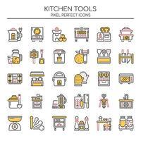 Set van Duotone dunne lijn keuken gereedschapspictogrammen vector