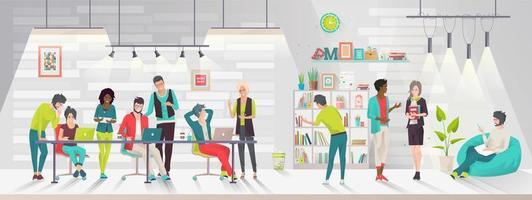 Concept van het coworking center.