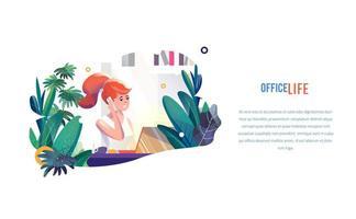 Zakenvrouw werkt op kantoor in vlakke stijl