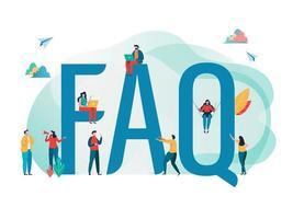 Veelgestelde vragen concept met mensen en grote letters