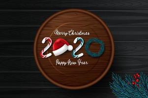 2020 nieuwjaarskaart met kerstkaart vector