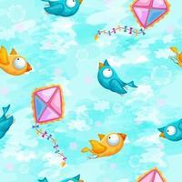 Naadloos patroon met vogels en vliegers
