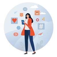 Vrouw op telefoon die sociale media gebruikt vector