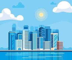 stadsgezicht gebouwen dagscène vector