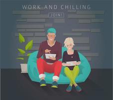 Jonge mensen zitten op een zitzak met gadgets vector