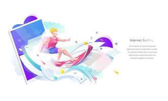 Man surfen op webpagina's afkomstig van een tablet vector