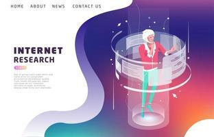 Isometrisch concept met man omringd door zoeken op internet