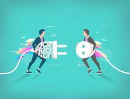 Twee zakenman loopt naar elkaar toe met stekker en stopcontact