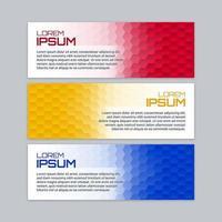 Kleurrijke zeshoekige banner set