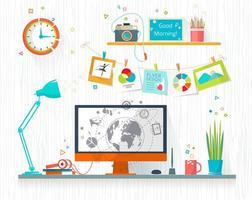 Werkplaats van ontwerper of illustrator