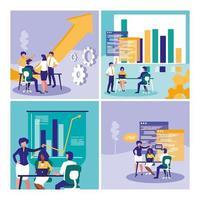 groep van mensen uit het bedrijfsleven met grafische statistieken
