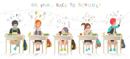 Kinderen zitten aan een bureau op school vector