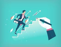 Hand trekt een ladder om jonge aankomende zakenman te leiden