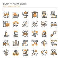 Set van zwart-wit dunne lijn gelukkig Nieuwjaar pictogrammen