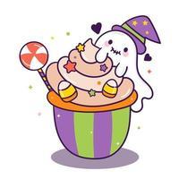 Leuke cake Ghosts cartoon voor Halloween vector