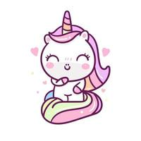 Smiley Kawaii eenhoorn karakter vector