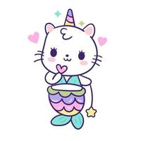 Rainbow Cat Unicorn Mermaid vector