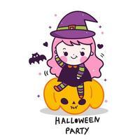 Kawaii Halloween meisje cartoon doodle stijl vector
