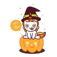 Leuke Halloween-eenhoornpompoen vector