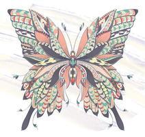 Gevormde vlinder op de achtergrond van de grungeborstelslag vector