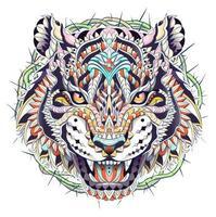 Gedessineerde kop van brullende tijger met doornencirkel