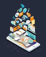 Isometrisch concept van smartphone met verschillende apparaten en andere items zwevend boven het scherm vector