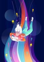 Vrouw die door kleurrijke ruimte met tablet valt vector
