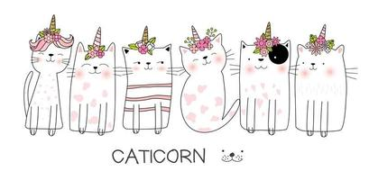 Catcorn illustratie set vector