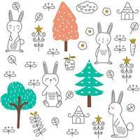 schattige baby konijn cartoon - naadloos patroon vector