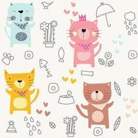 Regenachtige dag baby kat cartoon - naadloos patroon vector