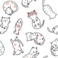 schattige baby kat cartoon - naadloos patroon vector