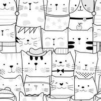 Zwart-wit baby kat cartoon - naadloos patroon