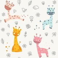 schattige baby giraffe doodle - naadloos patroon vector